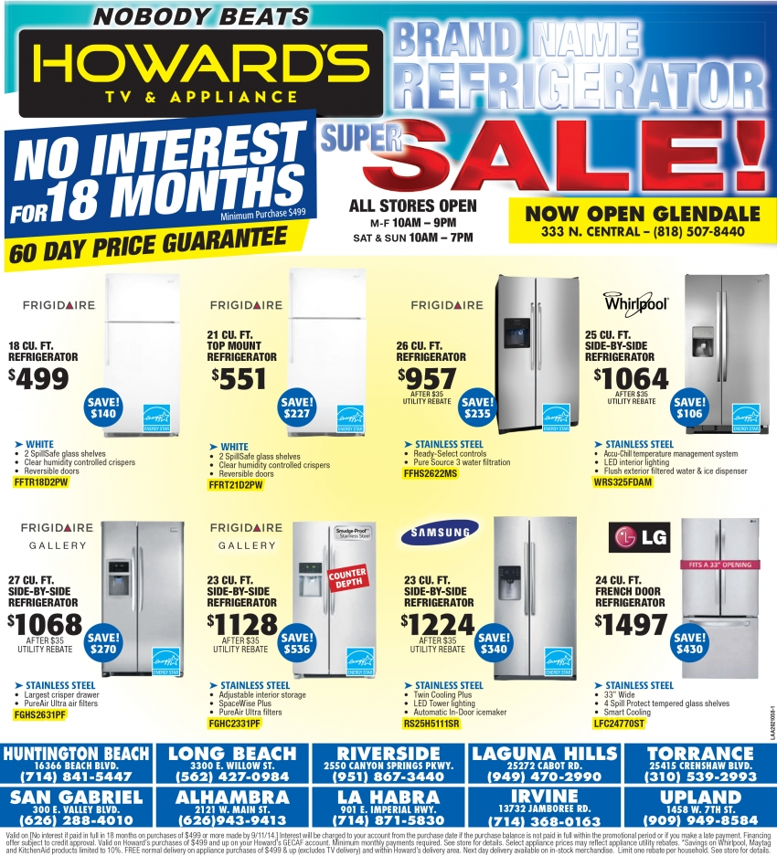 Howard S Appliance Weekly Ad Refrigerator Super Sale